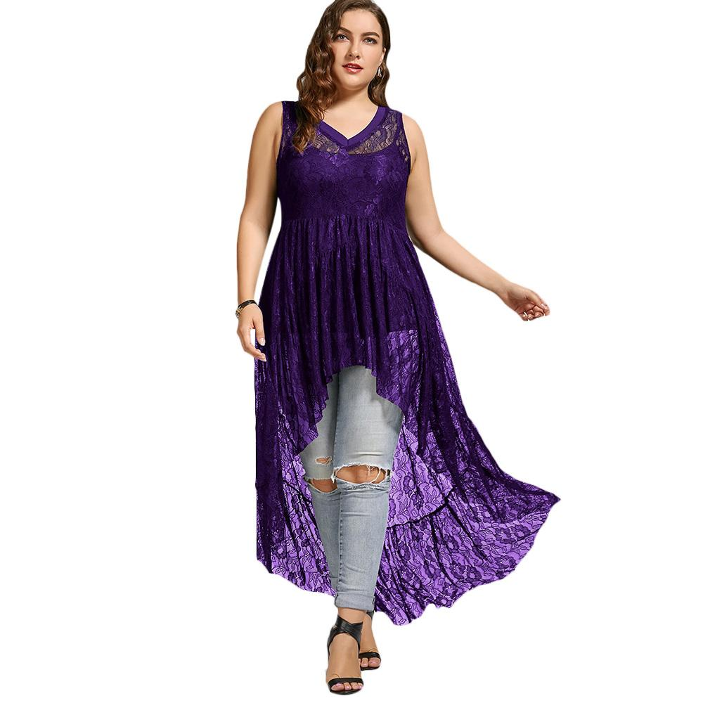 91b25a3e18005 2019 Kenancy Plus Size Lace See Through Tank Top Women Sleeveless V Neck  Long Chiffon Flowy High Low Tops Ladies Tees Clothing Black From  Clothwelldone