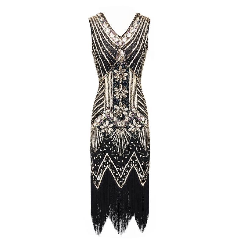 5cfe6b6c85a0 Acquista Vintage 1920s Flapper Great Gatsby Dress 2018 Summer Fancy  Costumes V Neck Cap Sleeve Paillettes Frangia Party Midi Abiti A  33.37 Dal  Wuyasi ...