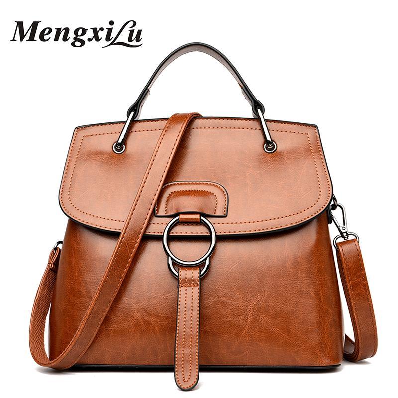698fc80482c0 MENGXILU Luxury Handbags Women Bags Designer Oil Wax Genuine Leather Handbag  High Quality Women Shoulder Bags 2018 Ladies Bag Hobo Bags Designer Bags  From ...