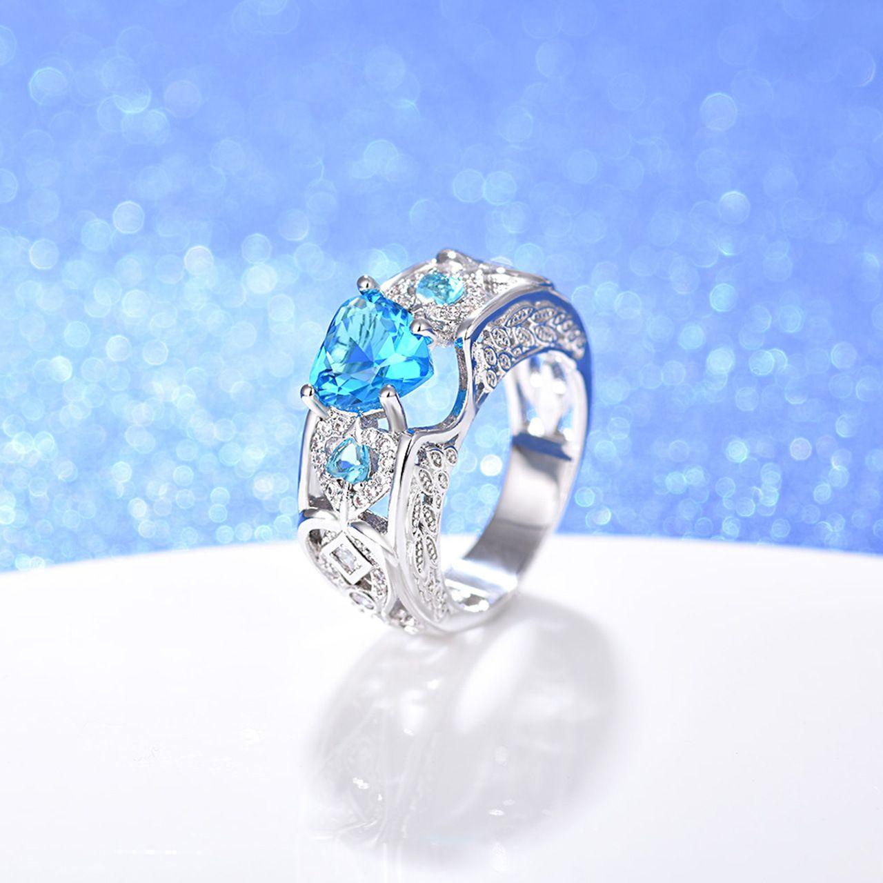 Großhandelsweißes Gold überzogenes Herz formte Zircon-Verlobung / Hochzeits-Finger-Ring-Art- und WeiseValentinstaggeschenk-Schmucksachen für Frauen-Mischungs-Farbe