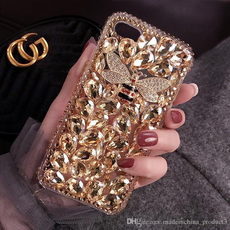 Bling Bee Phone Case for iphone 8 plus Luxury Diamond Rhinestone Back Cover for iphone X 8 7 6s plus Clear TPU Capa