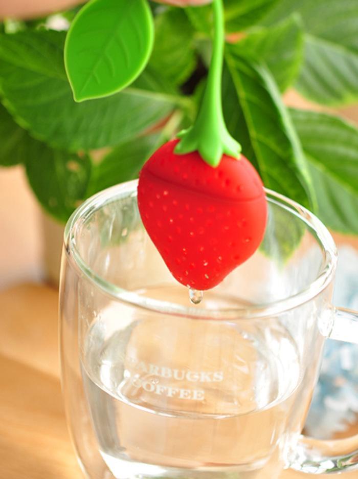 실리콘 차 충전기 가방 딸기 모양 실리콘 차 주입기 여과기