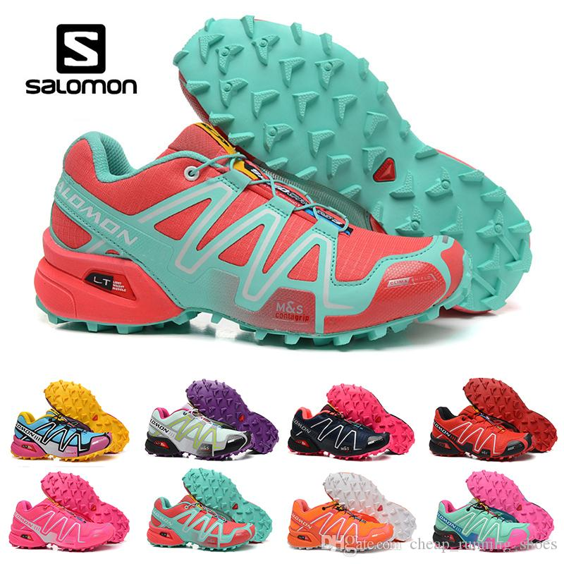8013be338882 New Salomon Speed Cross 3 CS III Running Shoes Black Silver Red Pink ...