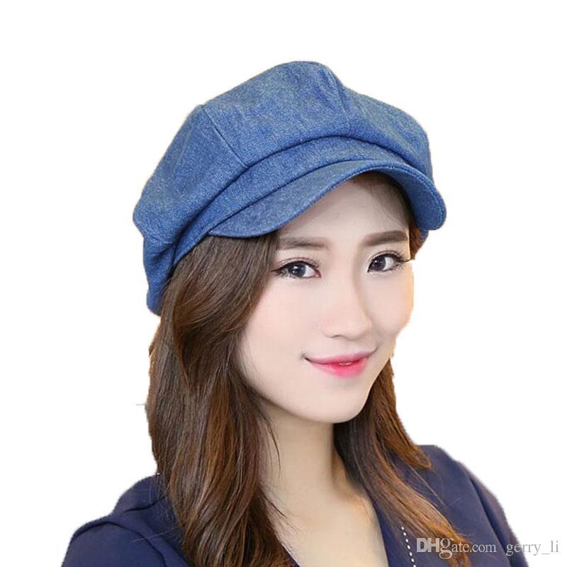 Womens Octagonal Hat Cotton Denim Female Solid Newsboy Caps Ladies ... b2c8b83f4e5a