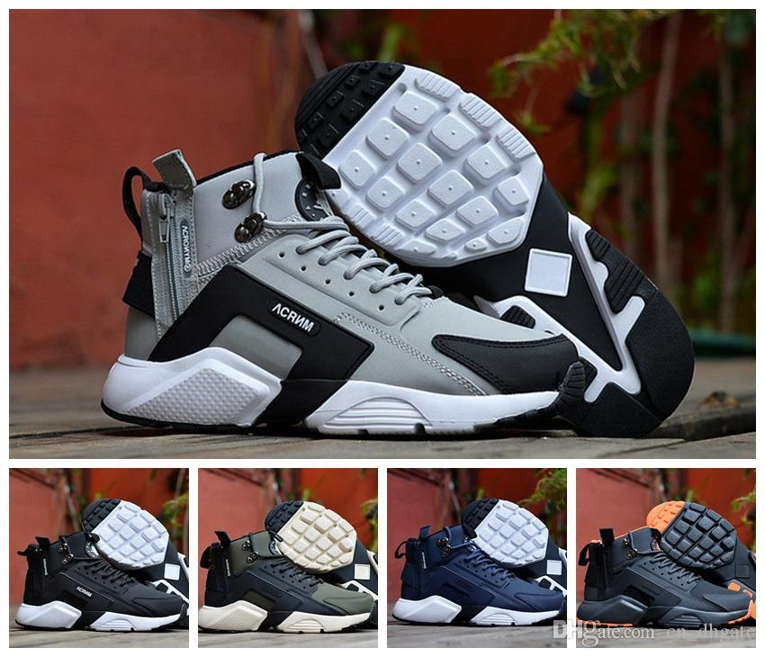 separation shoes a8563 57258 Acquista 2018 New Air Huarache 6 X Acronimo City MID High Top In Pelle  Huaraches Mens Scarpe Da Ginnastica Running Shoes Uomo Huraches Sneakers  Hurache ...