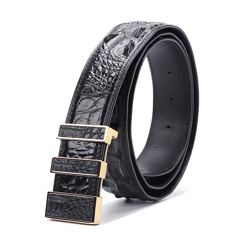 Compre Diseñador De Lujo De Piel De Hueso De Cocodrilo Hombres Cinturón Para  Trajes De Oro De Metal Hebilla De Aguja Hombre Correa De Cuero De Cocodrilo  ... 985308aa9b95