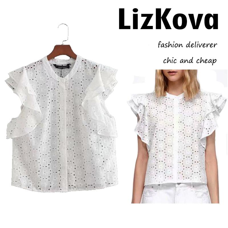 93d0e69112d869 2018 Summer Sleeveless White T Shirt Tees Women Frill Layer Hollow Out Tops  Floral Embroidery Button Down T Shirt TP371 Funny T Shirt Designs Make A Tee  ...