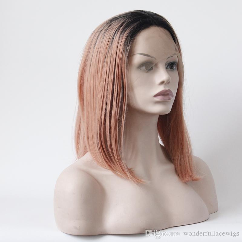 الرباط الجبهة الباروكة الاصطناعية مستقيم بوب حلاقة الجزء الأوسط شعري الطبيعي الجذور الداكنة أومبير الشعر الجزء الأوسط بوب الأسود الرباط المرأة
