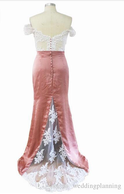Factory 100% Real Image Off Shoulder Dusty Pink Mermaid Prom Dresses Long Saudi Arabia Beading Appliues Cheap Long Evening Dress Women