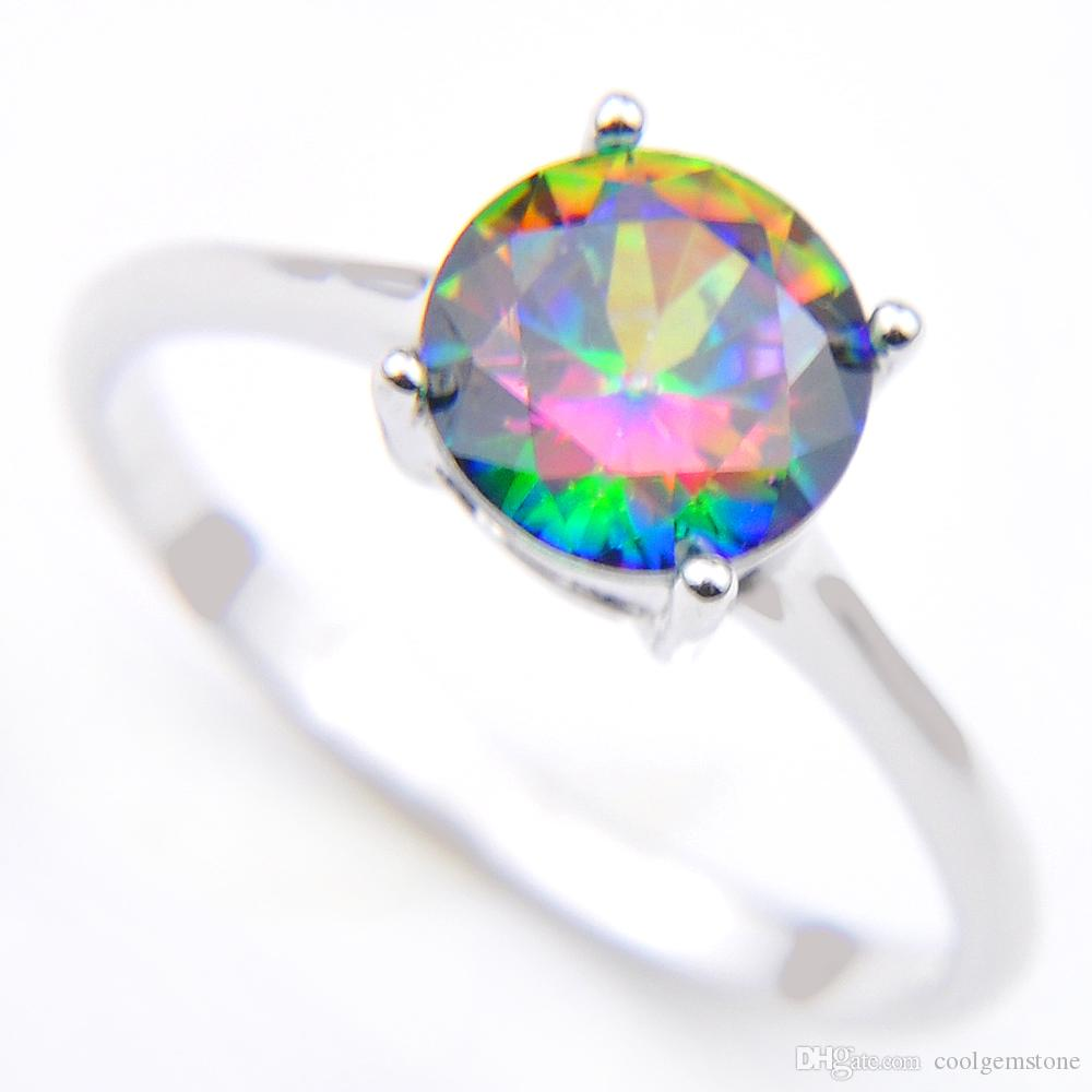 Vintage 925 Sterling Silver rotonda naturale arcobaleno Mystic Topaz gemme gioielli austriaci anello di nozze di cristallo gli amanti anello