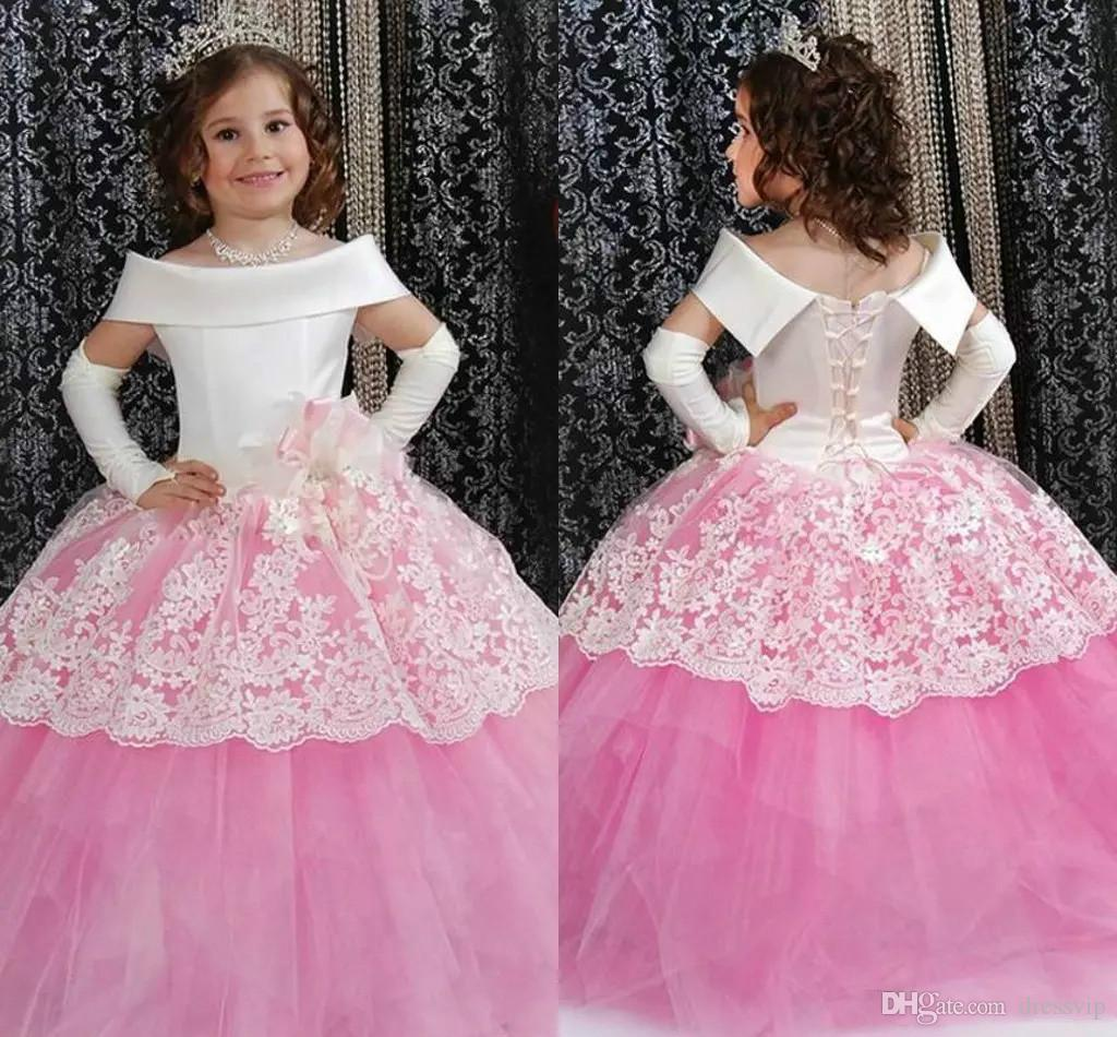 Cute Flower Girl Dresses White And Pink Off The Shoulder Ball Gown