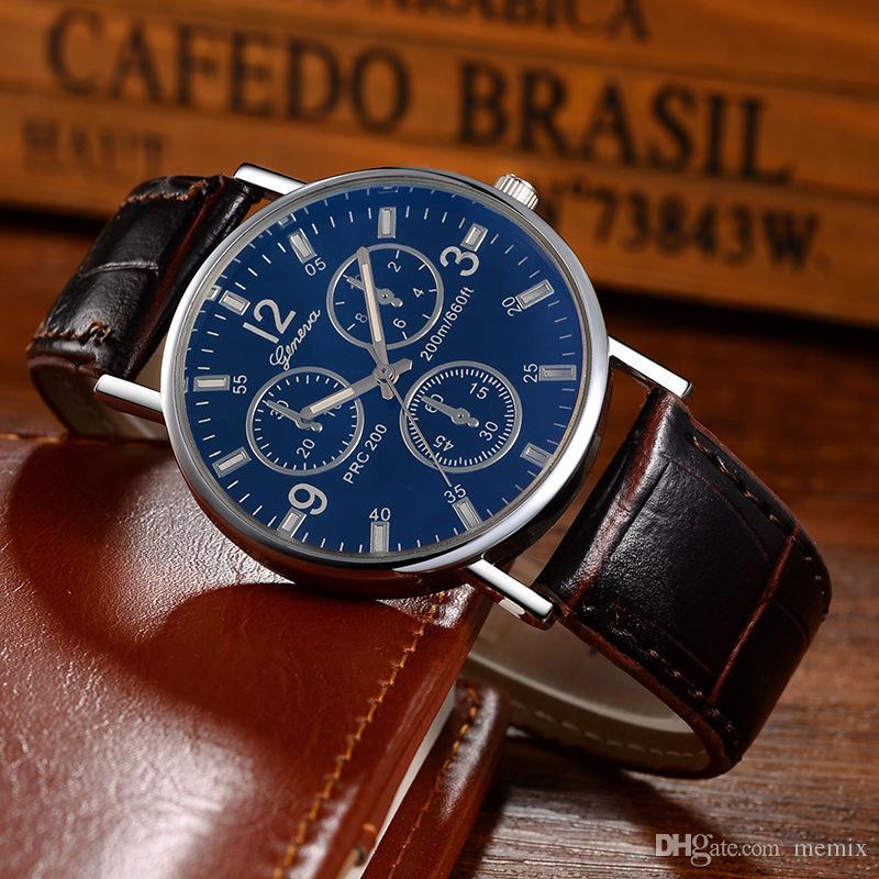 3a36b9fe2832 Compre Nueva Lista De Ginebra Reloj Para Hombre Relojes De Marca De Lujo  Relojes De Cuarzo Cinturones De Cuero De Moda Relojes Baratos Relojes  Deportivos ...