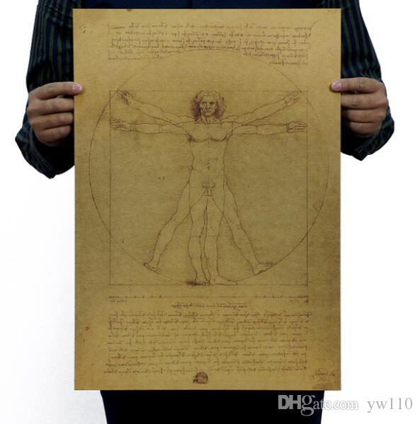 Leonardo Da Vinci Manuscripts Vitruvian Man Vintage Kraft Paper Movie Poster Home Decor Wall Decals Art DIY Retro Decor Prints