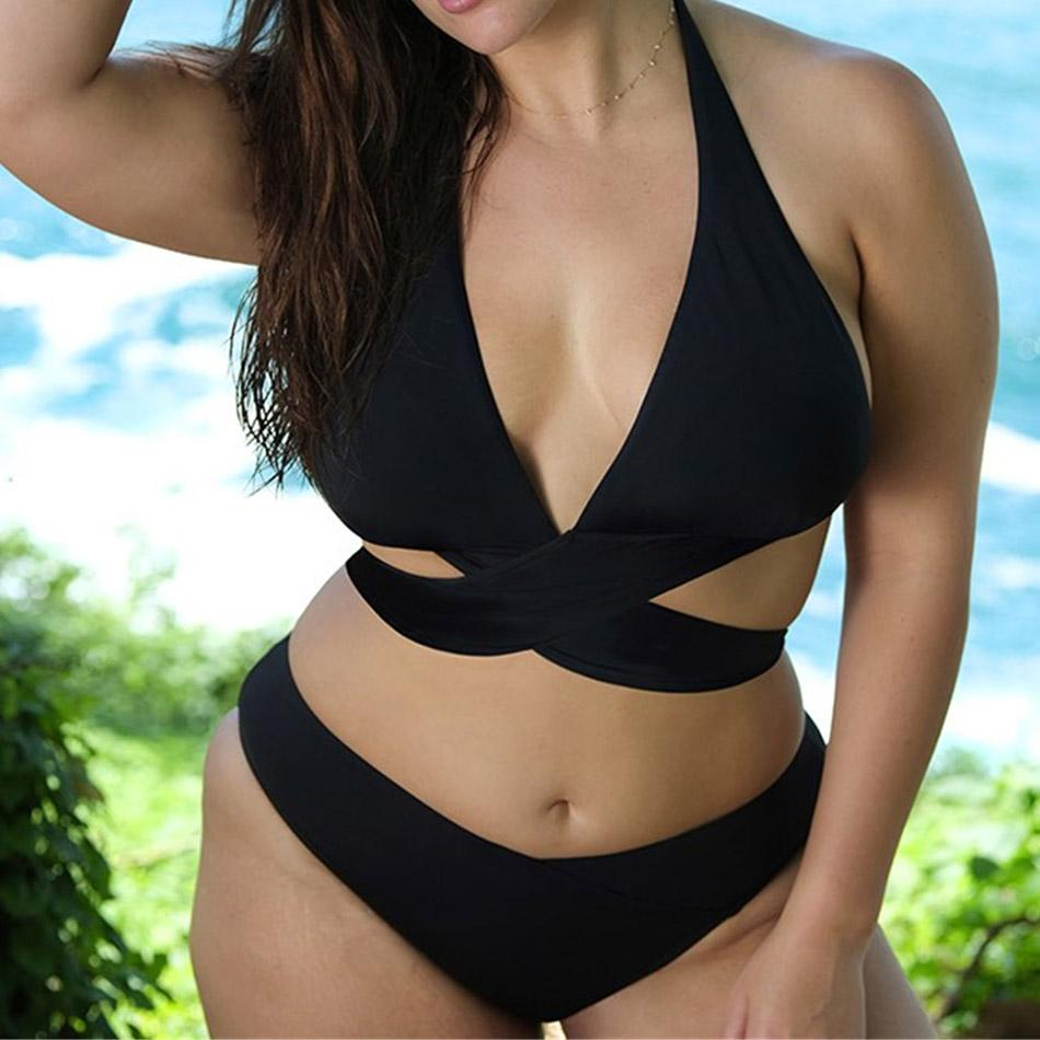 51af5c4060a77 2019 Plus Size Swimwear Women 3XL Black Two Piece Swimsuit Female Biquini Large  Size Bathing Suit V Neck Swim Wear 5XL Bandage Bikini From Bdress001