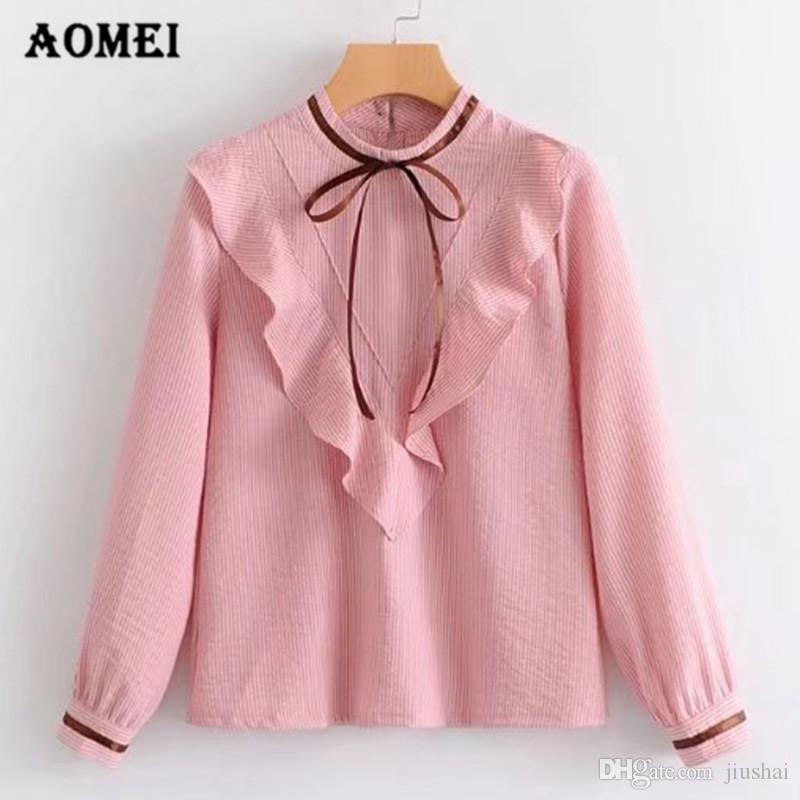 fcbedc1873f8a Women Shirts Ruffled with Bowtie O Neck Blouse Full Sleeve Lolita ...