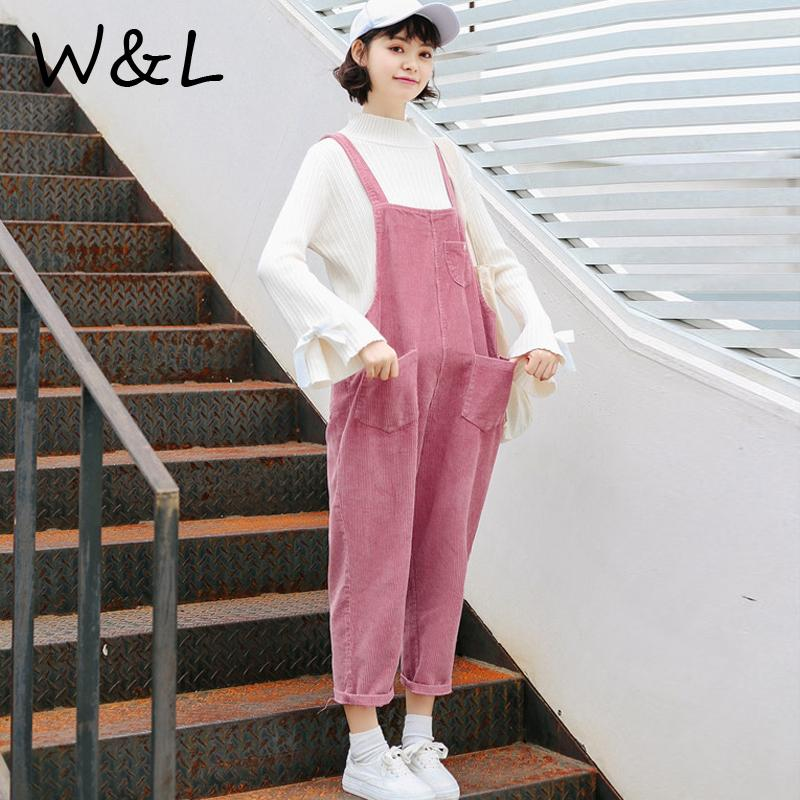 ad0f1045545d 2019 Women Jumpsuit Long Pants Overalls Plus Size Romper Loose Female  Fashion Clothing Casual Oversized Corduroy Thickening Pockets From Lucu