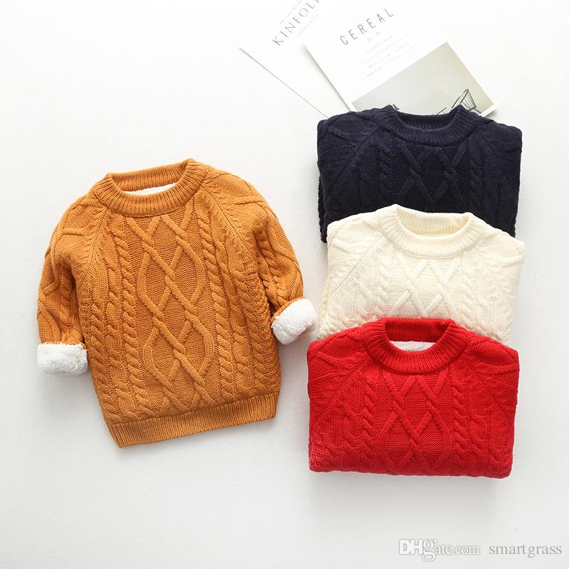 c9f07ad86 Fleece Crew Neck Sweater For Baby Twist Knit Sweaters Kids Boys ...