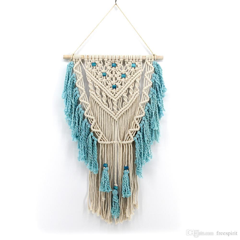 Gro handel b hmen makramee wandbehang nat rliche baumwolle seil boho wohnzimmer tapisserie home - Makramee wandbehang ...