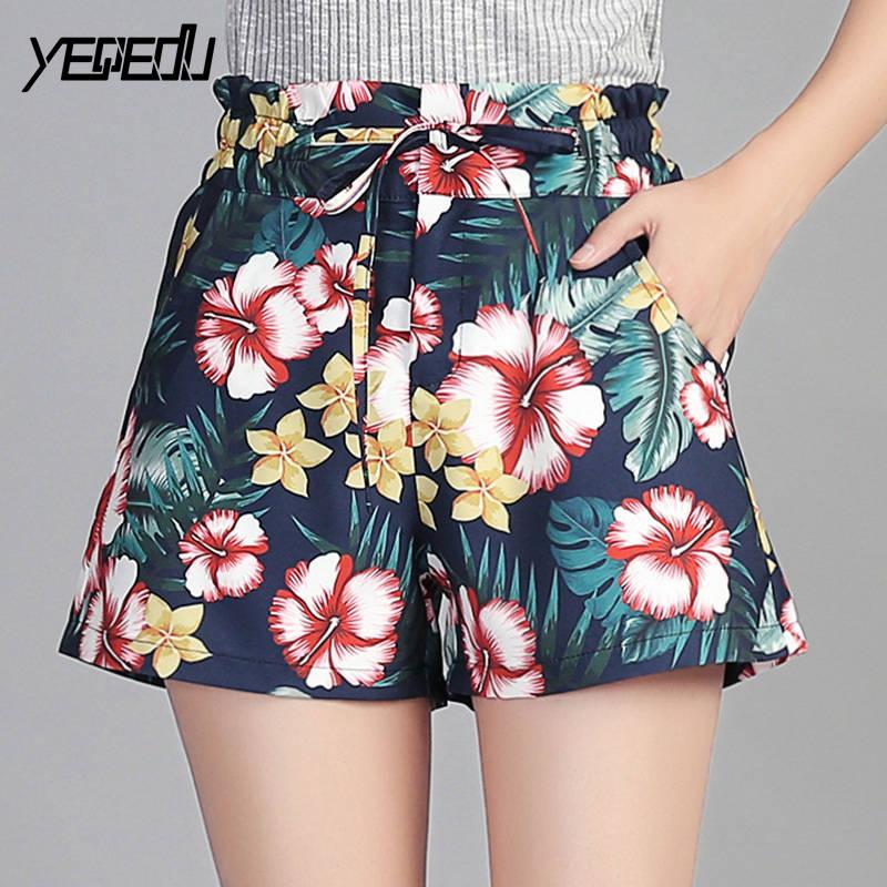 #1227 Print floral shorts women Fashion Summer 2018 Elastic waist High waist shorts Sexy Polyester 100% Plus size M-4XL