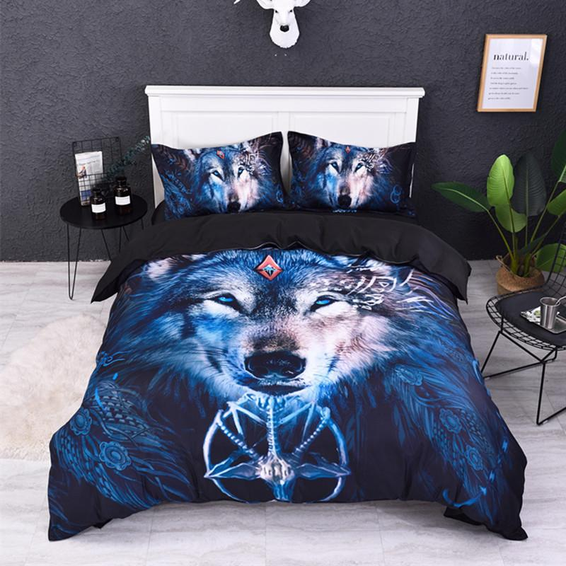 Letto Queen Size Misure.Acquista Fanaijia Wolf Set Di Biancheria Da Letto Queen Size 3d