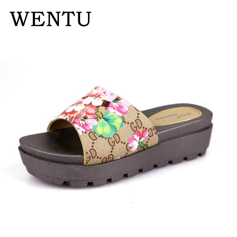 727b7f326d6 WENTU Wedges Women Slippers Beach Flip Flops Platform Slippers Women Sandals  Thick Boon Platform Sandals Ladies Cheap Shoes For Women Buy Shoes Online  From ...