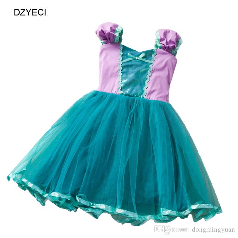 Ceremony Costume For Baby Girl Dresses Elegant Kid Monsoon Gown Ariel Party Birthday Frock Halloween Child Sling Lace TUTU Princess Dress