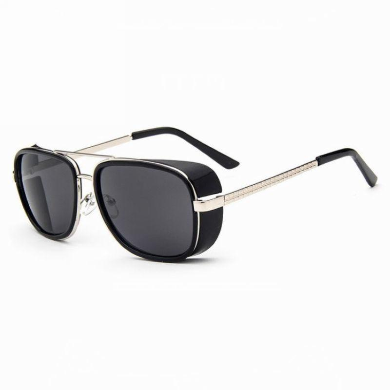 668301e9f78 Vintage Steampunk Ironman Square Pilot Sunglasses Black Acetate Side Shield  Gold Tone Metal Double Bridge   Arms Unisex Glasses Eyewear Prescription  Glasses ...