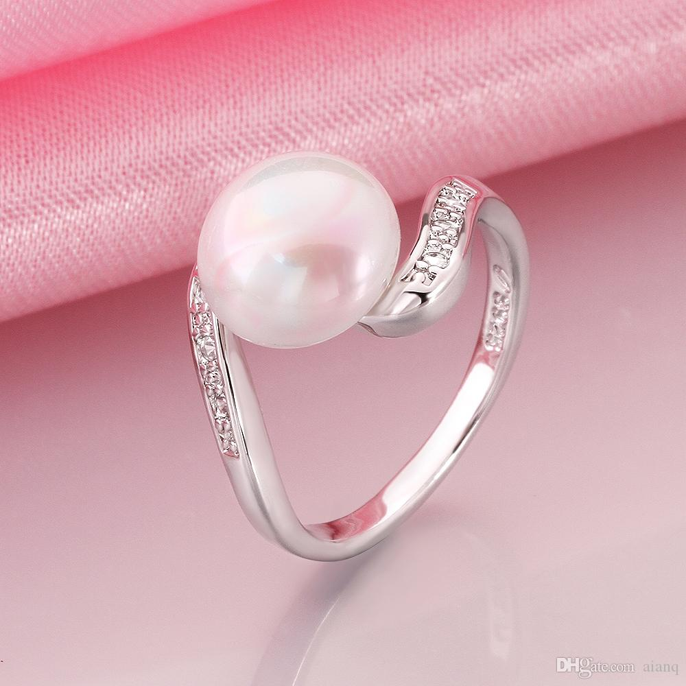 2018 Luxury 100% Natural Pearl Rings Women Wedding Rings Plated ...