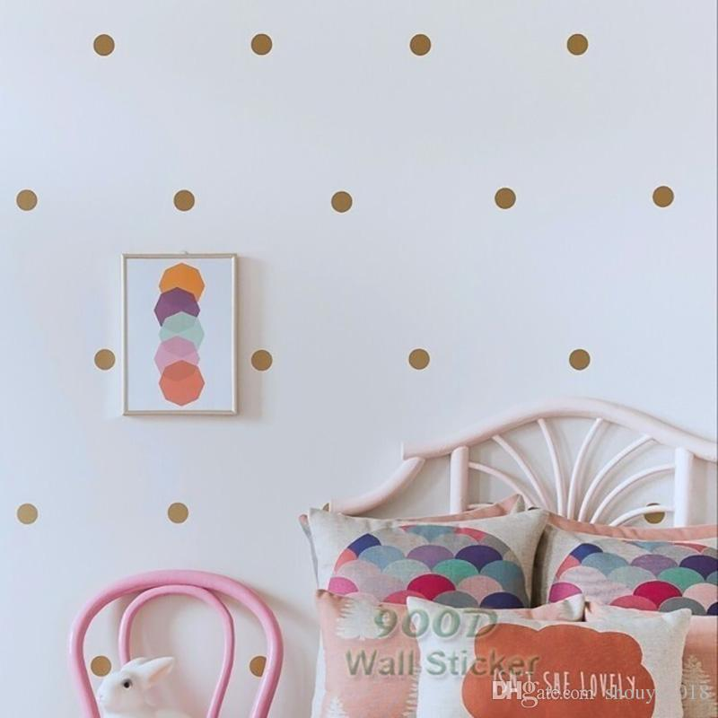 Gold Polka Dots Wall Sticker Wall Decal, Removable Home Decoration Art Wall  Decor Cheap Removable Wall Decals Cheap Tree Wall Decals From Shouya2018,  ...