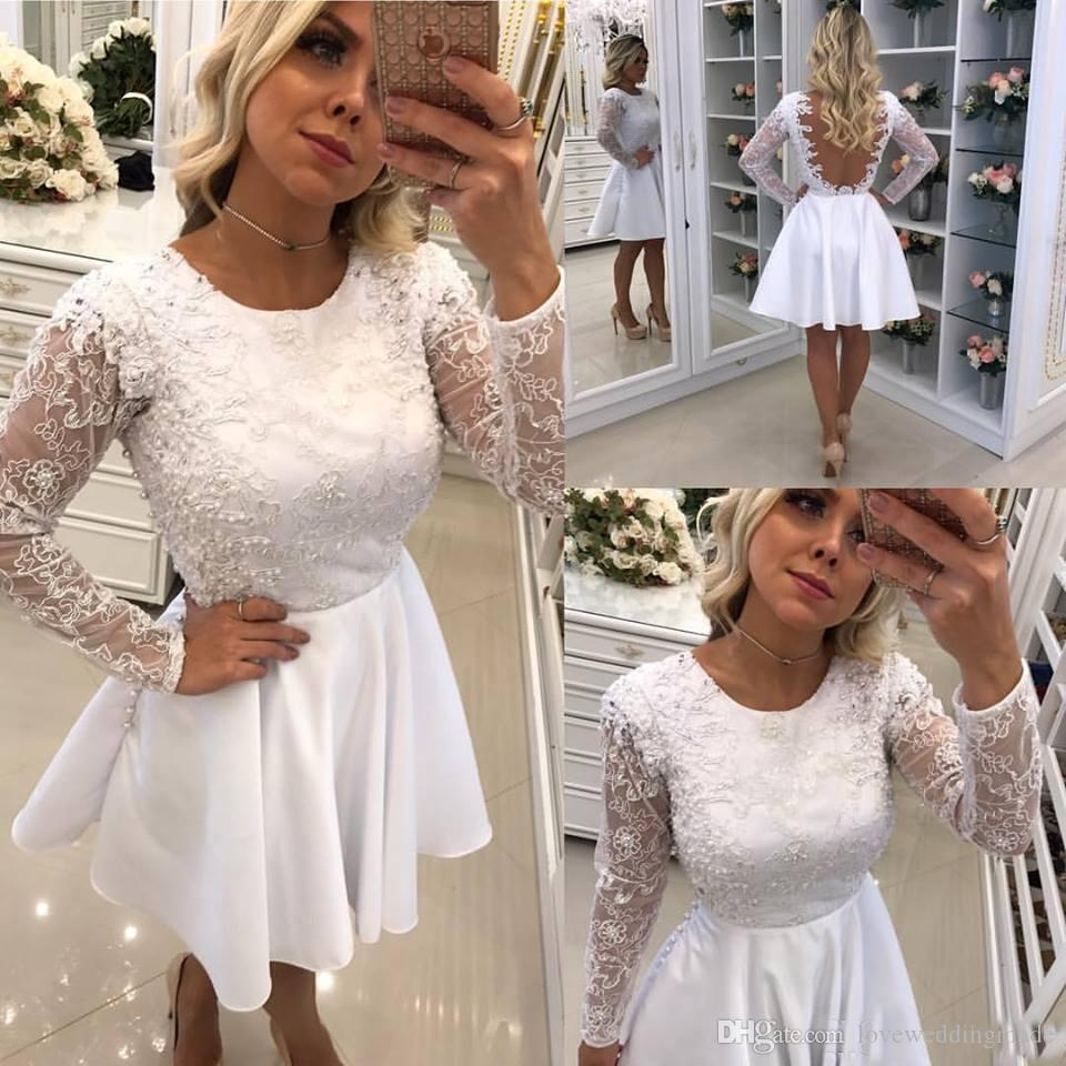2018 Elegant White Short Prom Dresses With Long Sleeves Jewel Pearls Lace Top Satin Cheap Party Cocktail Gowns Illusion Back