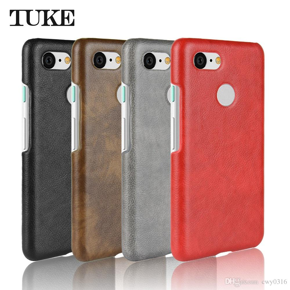 new arrival 43040 715a4 TUKE for Google Pixel 3 Case Back Cover Litch Pattern Luxury PU Leather  Hard PC Case for Google Pixel 3 Pixel3 Phone Case Capas