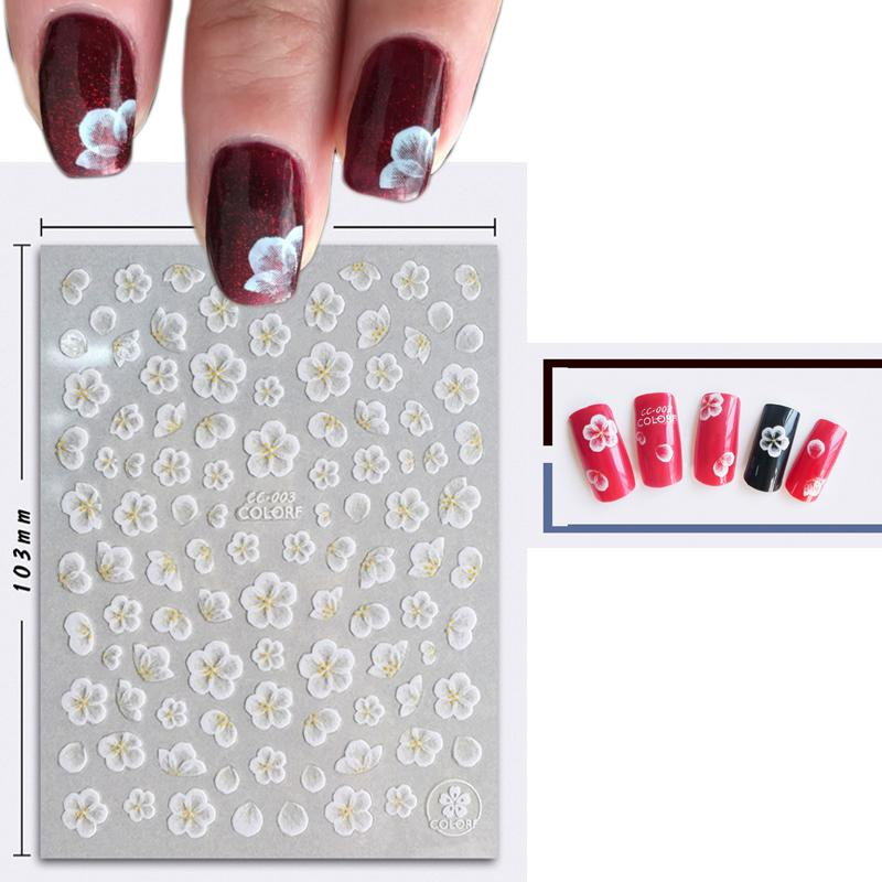 Nail Art Stickers Tips Decoration Lace White Flower Acrylic Stickers