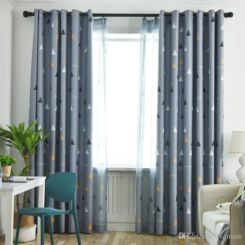Stylish Design Print Triangle Blackout Curtain for Living Room Kitchen Bedroom Geomotric Panel Drapes Shading Fabric Window Decoration