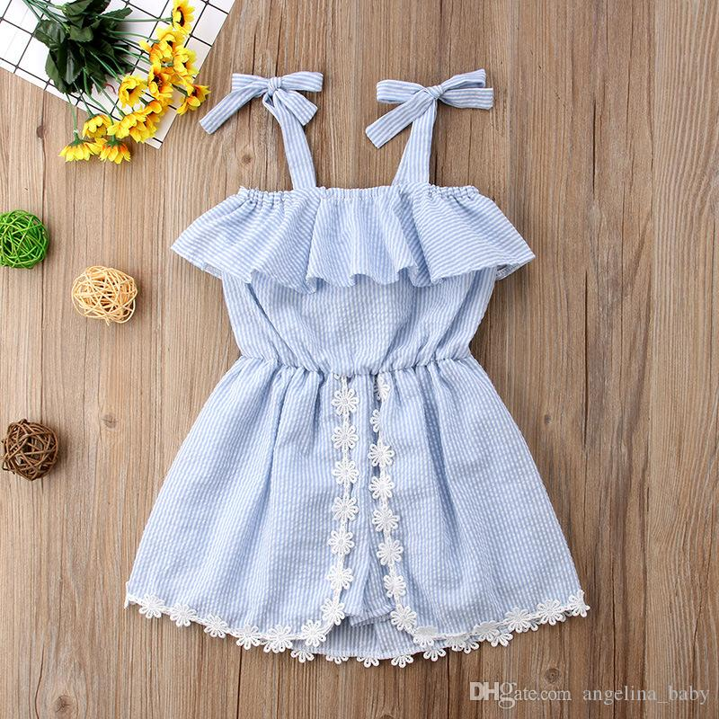 697414a32251 2019 New Summer Girls Romper Baby Girl Striped Lace Sling Rompers Dress  2018 Fashion Kids Striped Flower Jumpsuits Dresses Clothing Z11 From  Angelina baby
