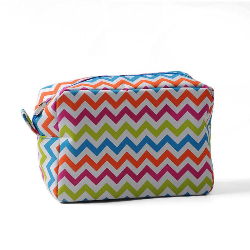 c564b3758b77 2019 Rainbow Chevron Makeup Bag Wholesale Blanks Multi Colored Zigzag Toiletry  Bag With Wedding Cosmetic Bag Gift For Her DOM106001 From Domil