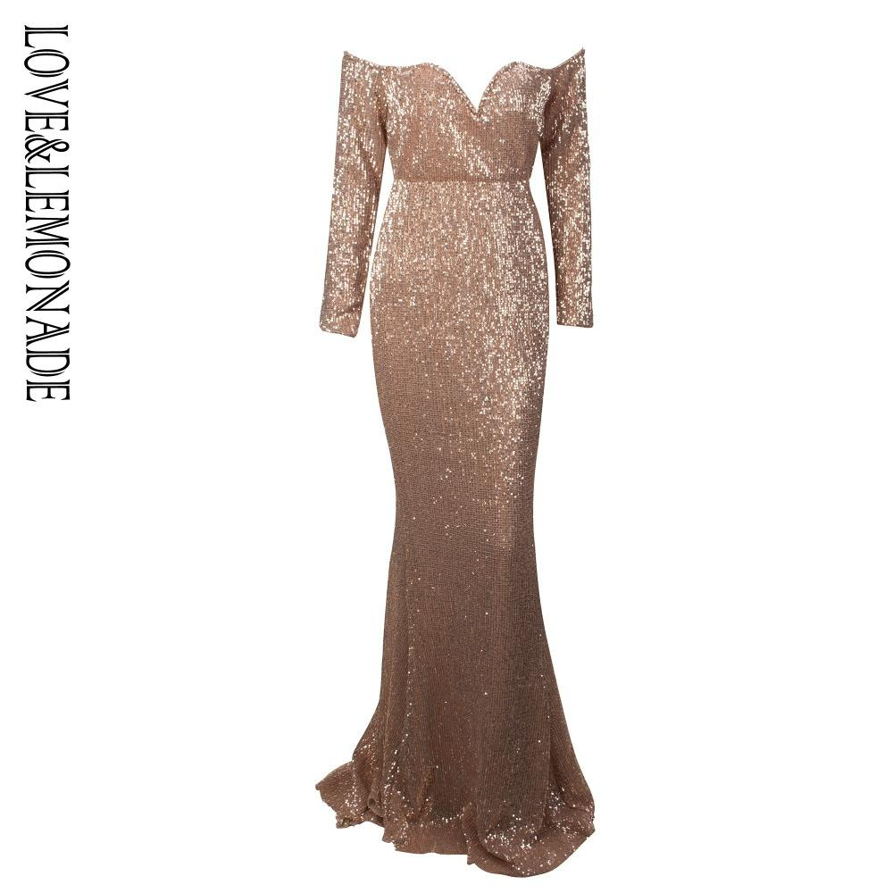 2019 Love Lemonade Sexy Gold Drop Shoulder Deep V Collar Long Sleeve  Elastic Sequin Material Long Dress LM1070 From Yuanbai 40be320f78ff