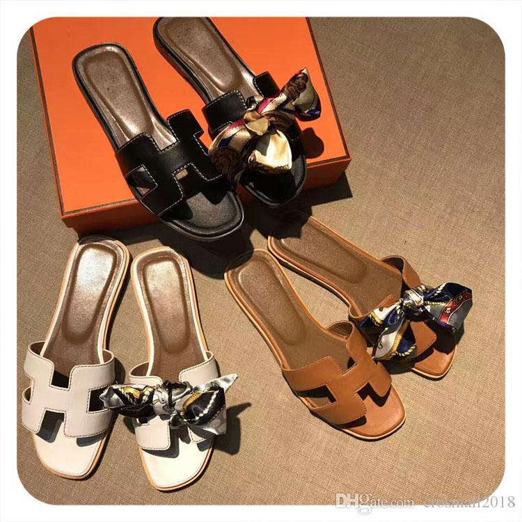 H Flats Slipper Damen Sommer Scuffs Riband bowknot Echtleder Fashion Solid Street Sandbeach Slipper Marke Mokassins