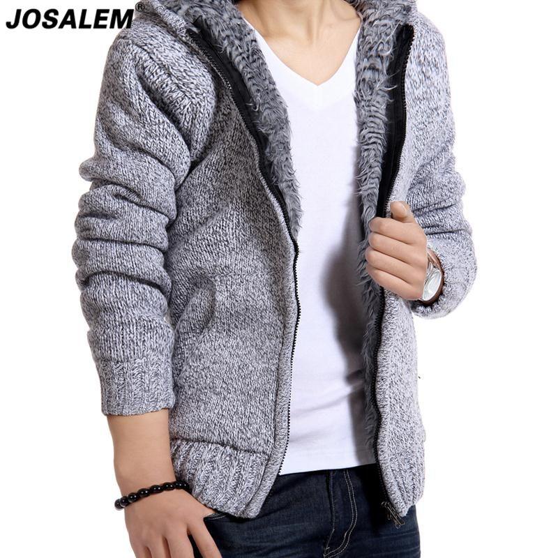 JOSALEM мужской мех внутри теплый свитер 2017 новый твердые Осень Зима мужчины толстый кардиган с капюшоном трикотаж одежда Blusas Masculinas