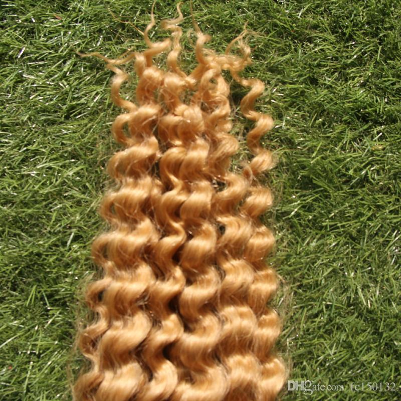 Deep Wave Braiding Human Hair Bulk Hair Extensions Hair Weave 100G 613 Bleach Blonde Weft Width 25cm-65cm