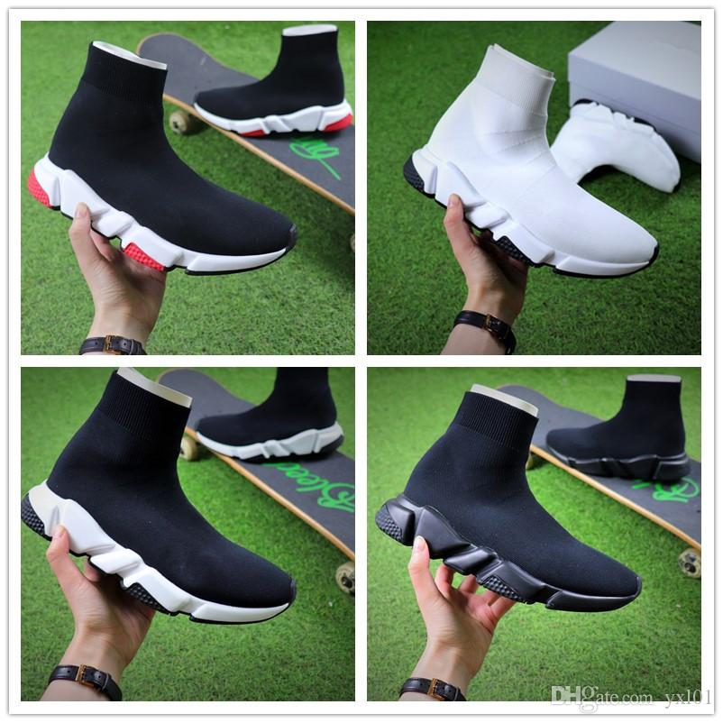 2018 Paris s Designer Luxury Shoes Speed triple Stretch knit Mid Sneakers for Mens Women Black White Red Casual Running Shoes 35-45 sale 2014 newest buy cheap best sale 5Gsyo