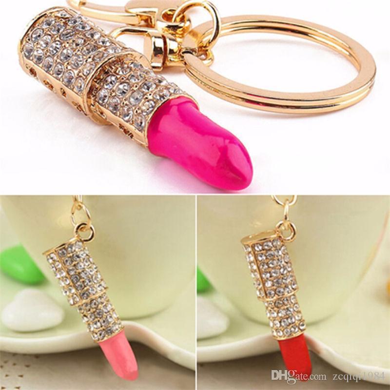 Nuovo arrivo donne portachiavi pendente di rossetto di cristallo strass portachiavi gioielli regali accessori auto vendita superiore