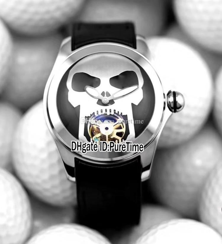 New 45mm Admiral's Cup Bubble Steel Case Black Dial White Skull Automatic Tourbillon Mens Watch Rubber Glass Back Sports Watches Cheap 51a1