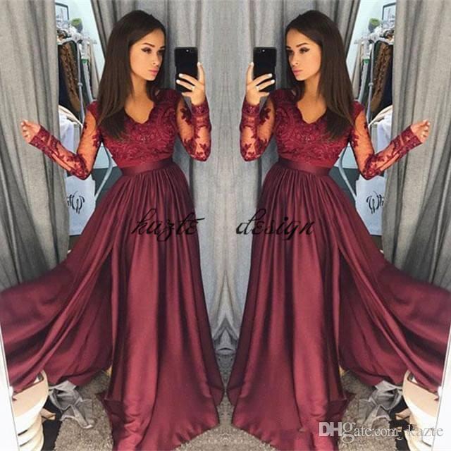 Hot Borgogna Pizzo Prom Dresses 2018 Sheer Vintage maniche lunghe Una linea scollo a V partito formale usura Prom Pageant abiti arabo