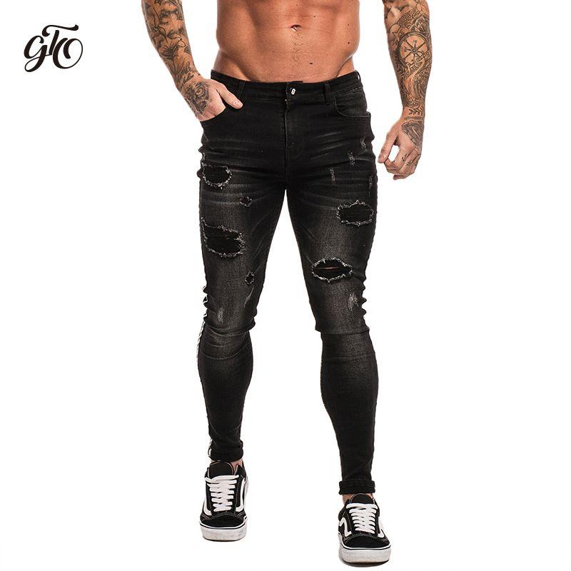 4c2de5f5f3 Compre Gingtto Jeans Ajustados Para Hombres Pantalones Vaqueros Negros  Estirada Desgastada Slim Fit Jeans Tamaño Grande Tobillo Algodón Spandex  Ripped Guys ...