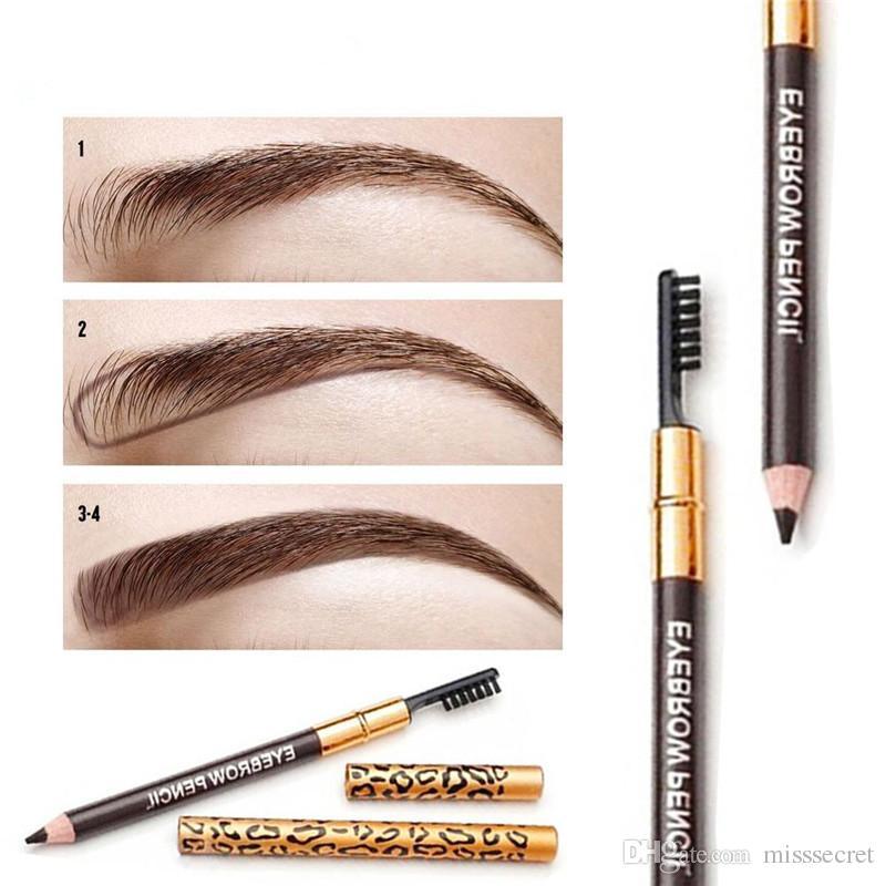 Leopard Print Eyebrow Pencil Waterproof Black Brown EyeBrow Liner 5 Colors  Long-lasting Double-Headed Eyebrow Enhancer with Brush Eye Makeup