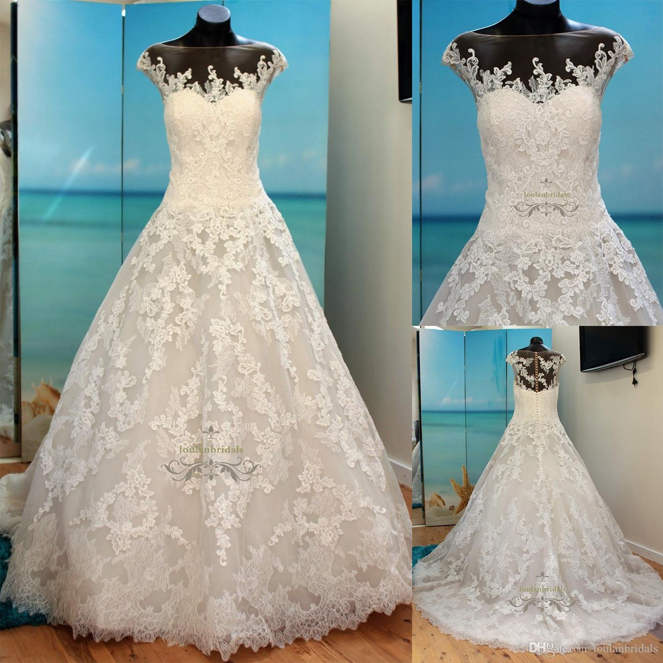 Stunning Ball Gown Style Wedding Dress Nude Sheer Illusion Neckline ...