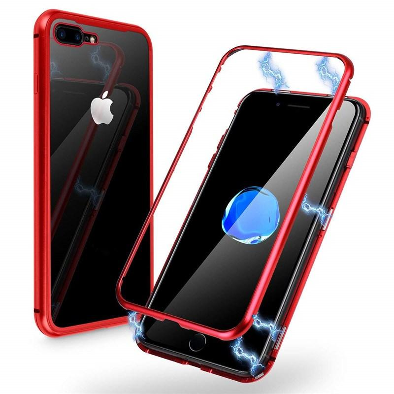 newest f8d99 6c5ed IPhone Series Case Ultra Slim Magnetic Adsorption Metal Case Tempered Glass  Hard Back Cover Support Wireless Charging for iPhone 6 7 8 X