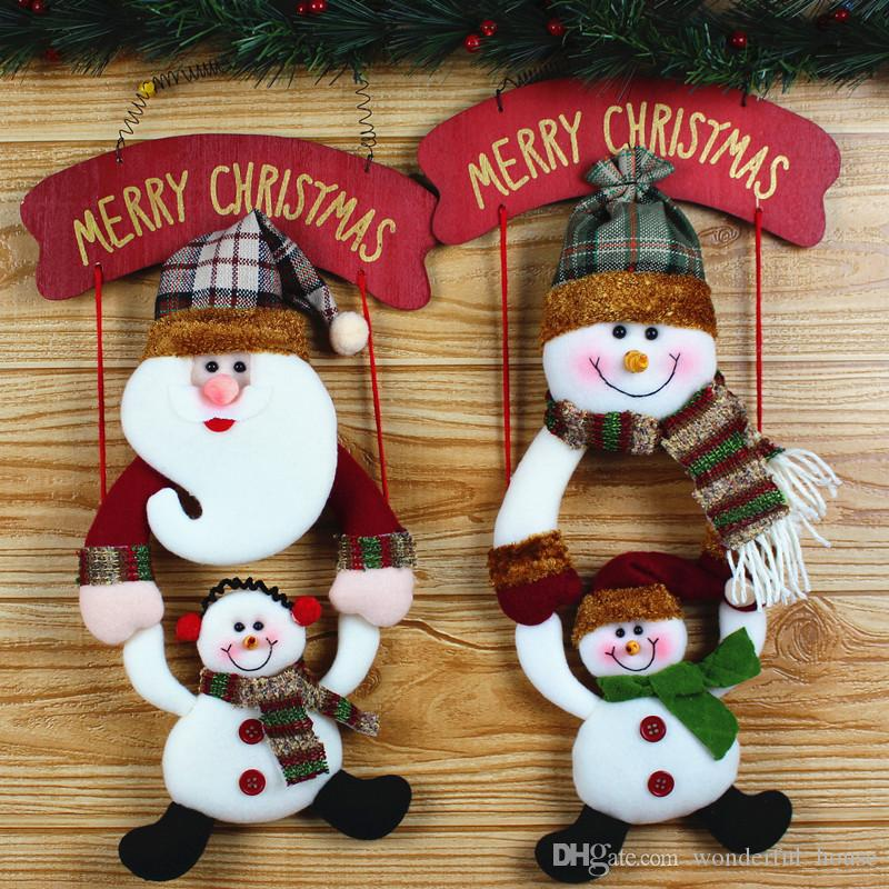 2018 santa claus fabric pendant christmas cloth dolls christmas decorations ornament pendant santa claus snowman 2 designs home decorations from
