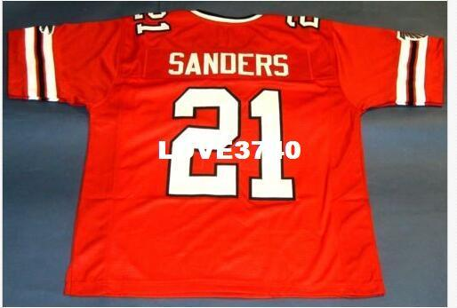 the best attitude 74a7b 97353 CHEAP Men DEION SANDERS #21 RED RETRO College Jersey size s-4XL or custom  any name or number jersey