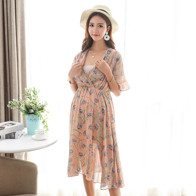 8eaee511f99 2019 Summer Boho Fashion Maternity Long Dress V Neck Floral Printed Chiffon  Nursing Clothes For Pregnant Women Pregnancy Beach From Mingway245